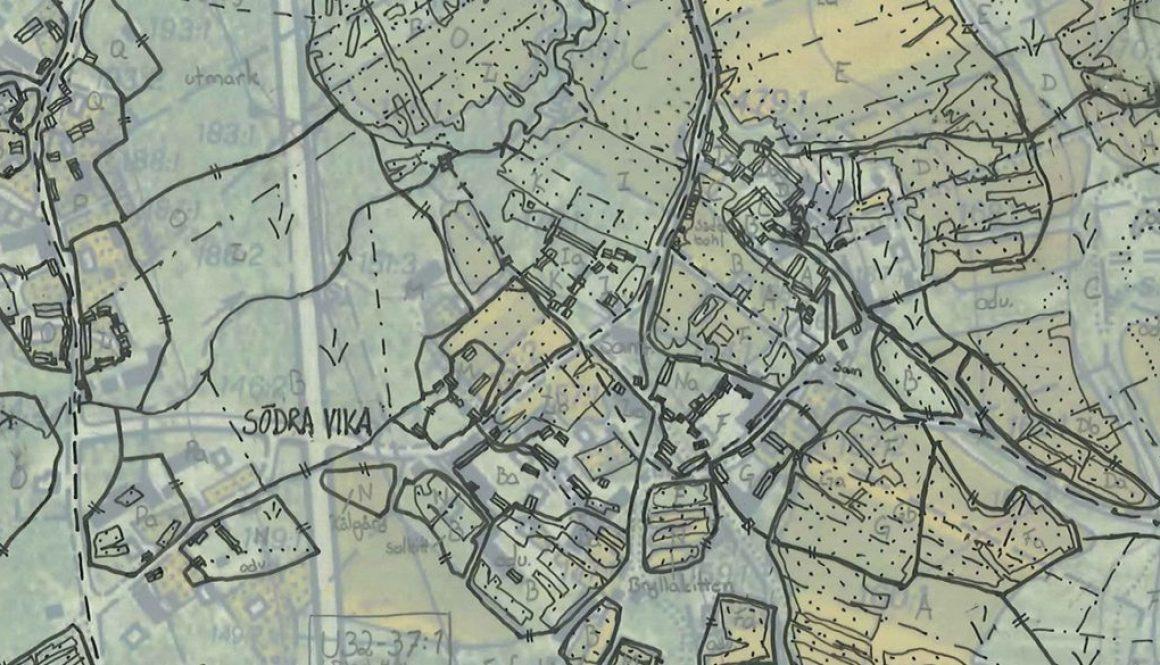 Kartöverlägg där 1840-talskartan är avritad på ett genomskinligt papper, bakom detta ligger en karta från 1950-talet.