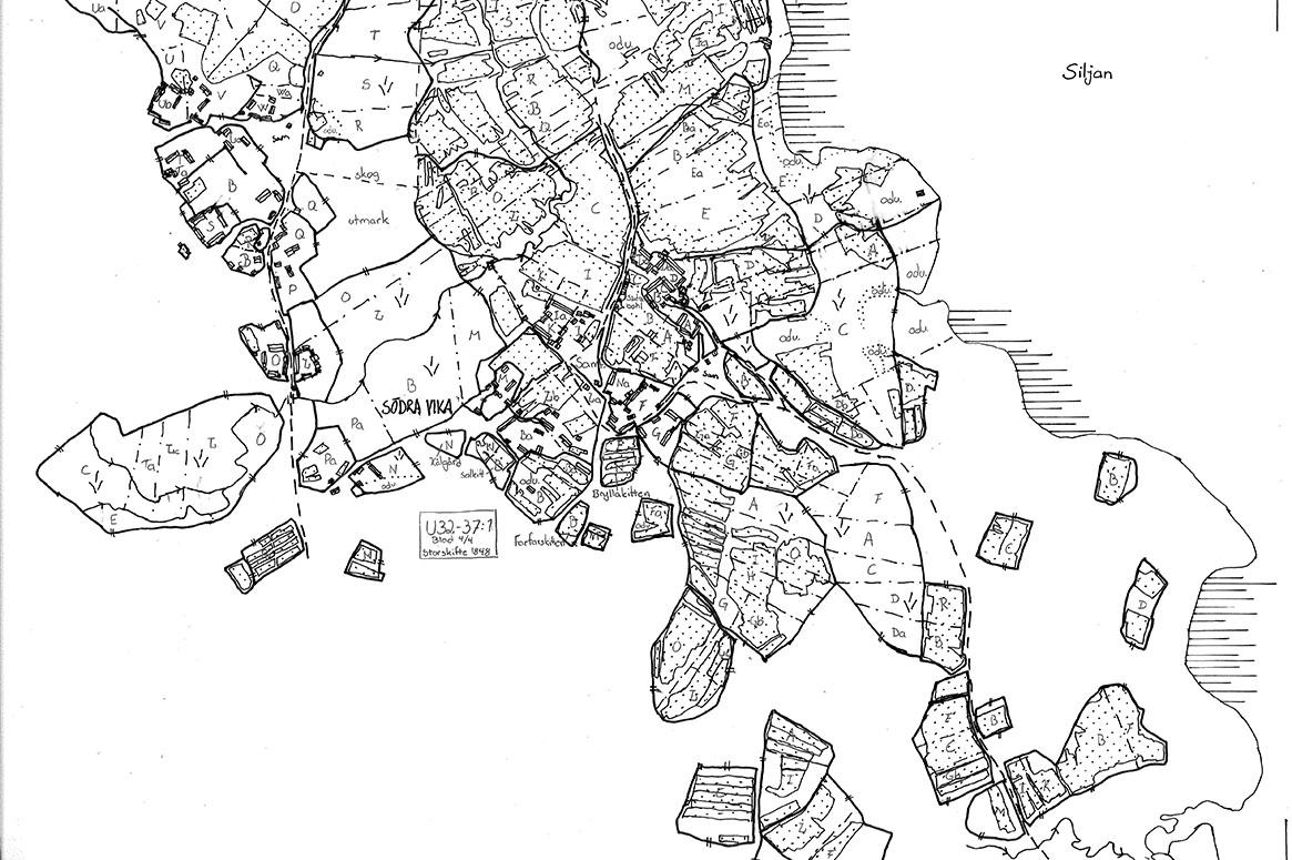 Kartöverlägg där 1840-talskartan är avritad på ett genomskinligt papper.