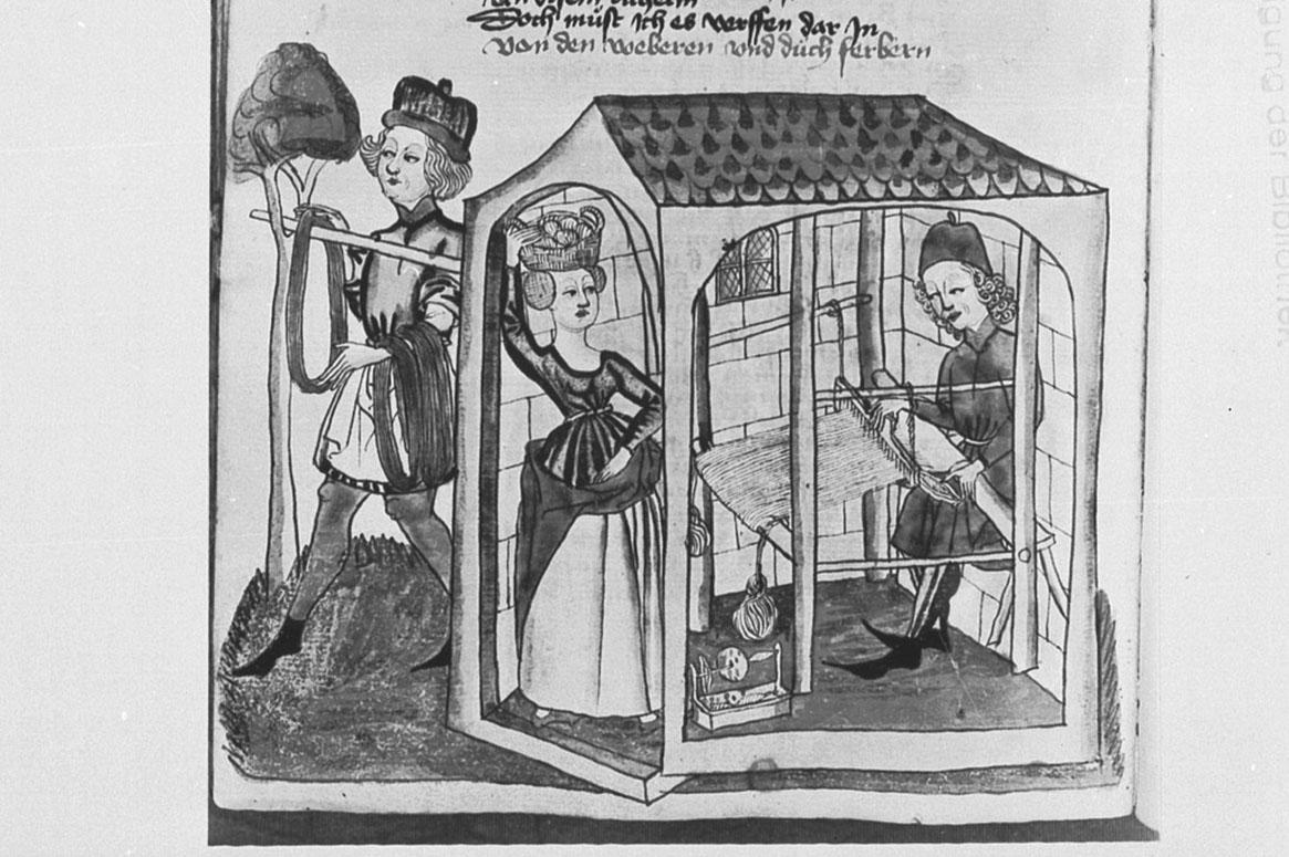 Manuskriptbild från 1400-talet med ett hus där det sitter en vävare. Bredvid står en kvinna i uppskörtad klänning.